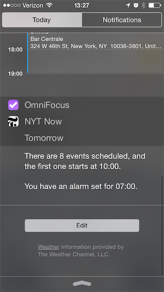 iOS 8 Notification Center with OmniFocus and NYT Now Extensions