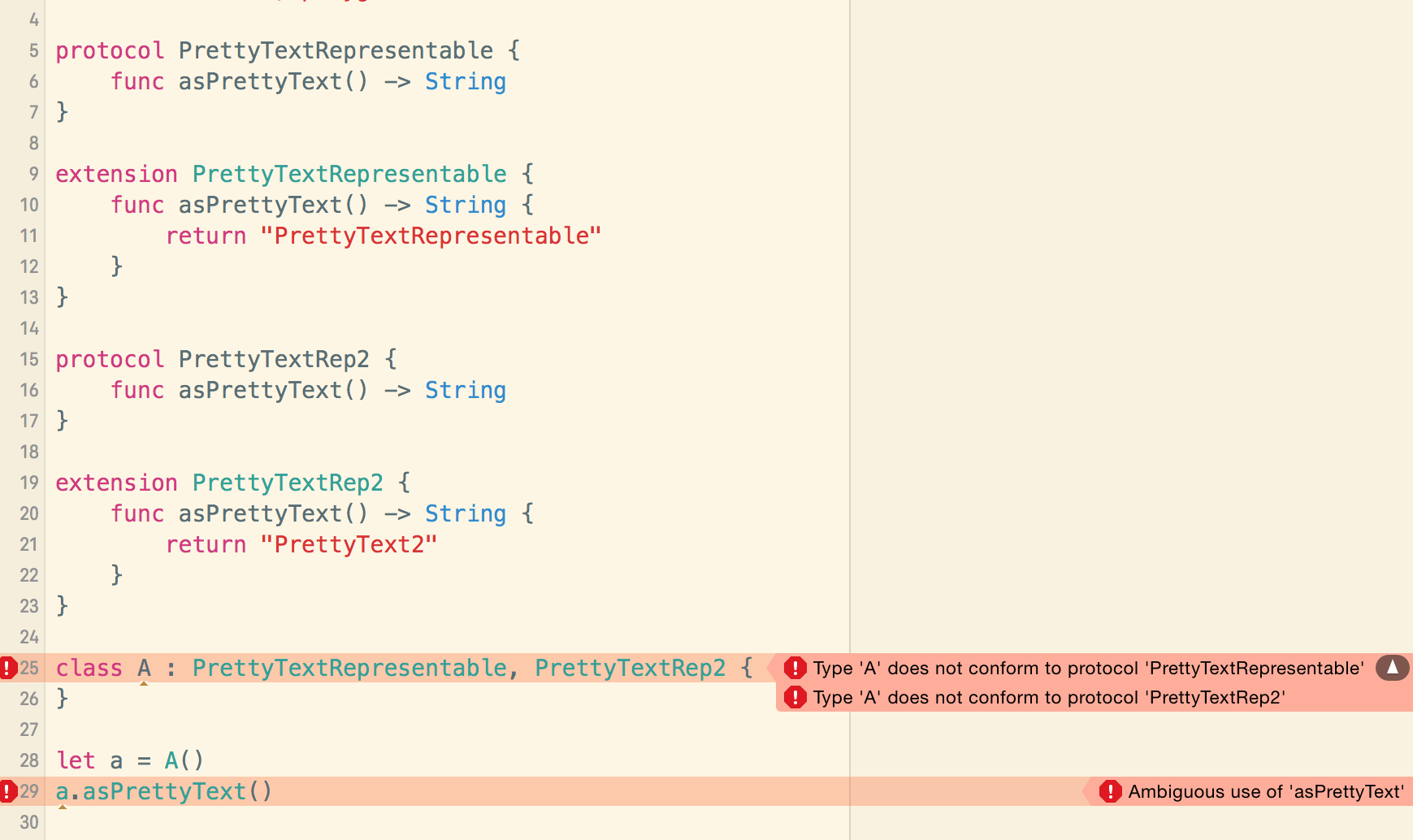Xcode 7 beta 1 playground with conflicting default implementations in protocol extensions