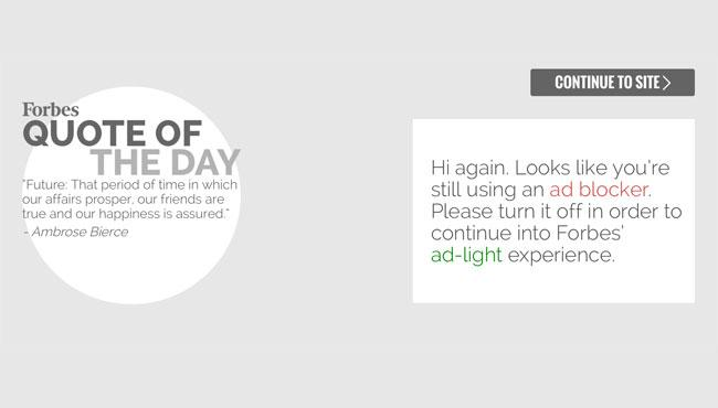 "Forbes interstitial promising an ""ad-light experience"""